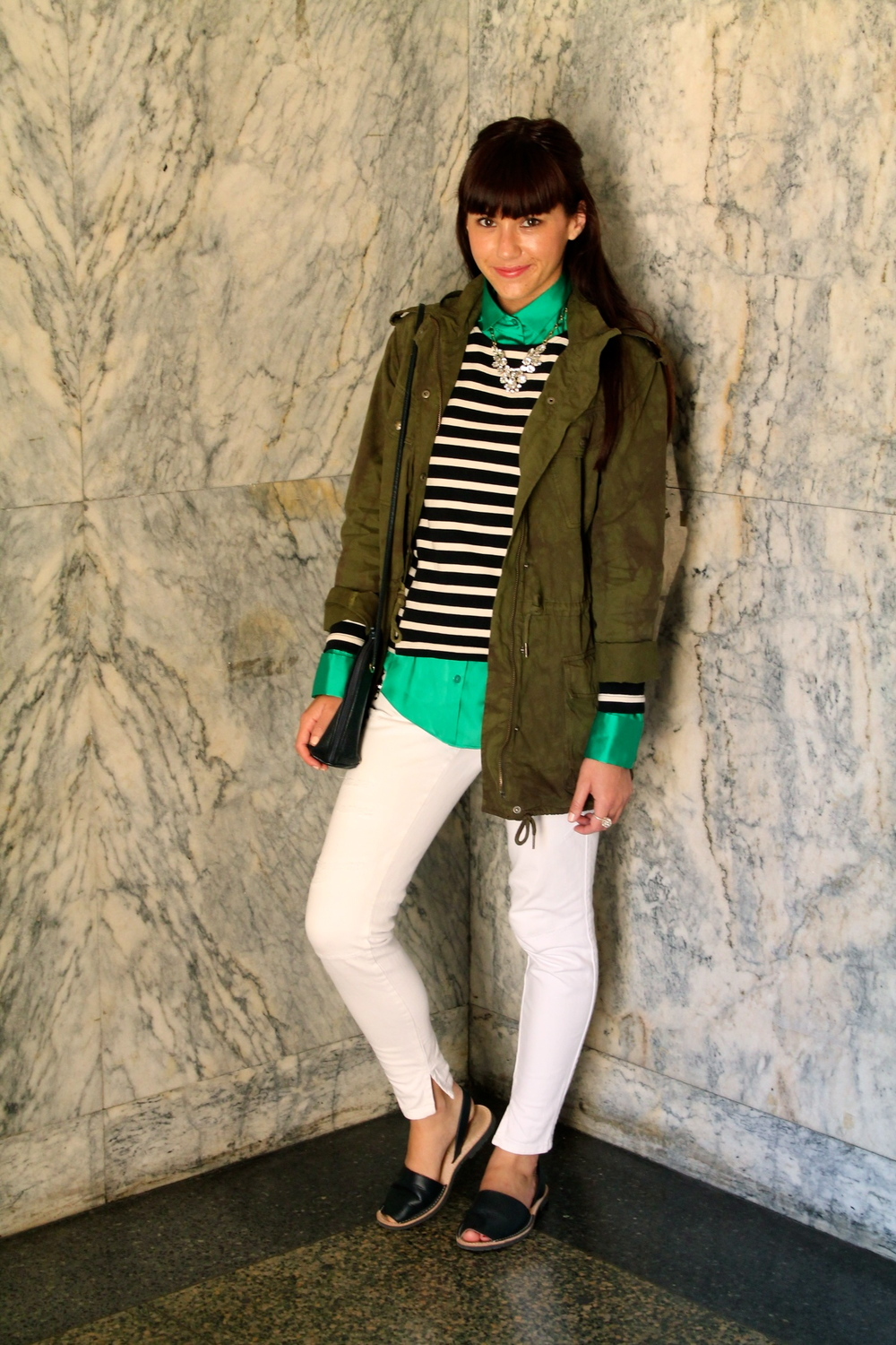 Trooper Jacket: Talula, Aritzia ; Blouse: United Colors of Benetton;  Sweater: J.Crew; Jeans: United Colors of Benetton;  Abracas: Jigsaw London ; Bag: Vintage; Necklace: J.Crew