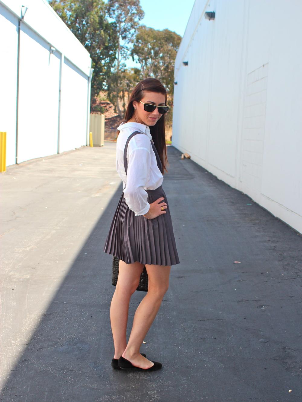 Dress: Forever21; Blouse: Elizabeth and James; Shoes: Dolce Vita; Bag: Vintage; Sunnies: Ray Ban, vintage 1980s; Necklace: Stella & Dot