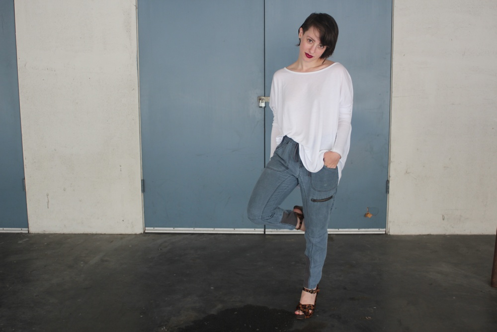 Dolman Top: Vince, Chambray Pants: Free People, Wedges: Sam Edelman
