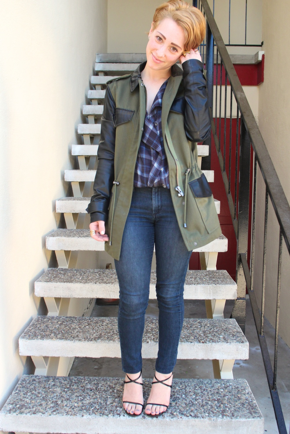 "Coat:  Veda  ""Jones"" Trench, Top: Zara, Denim: James Jeans, Shoes: Gucci"