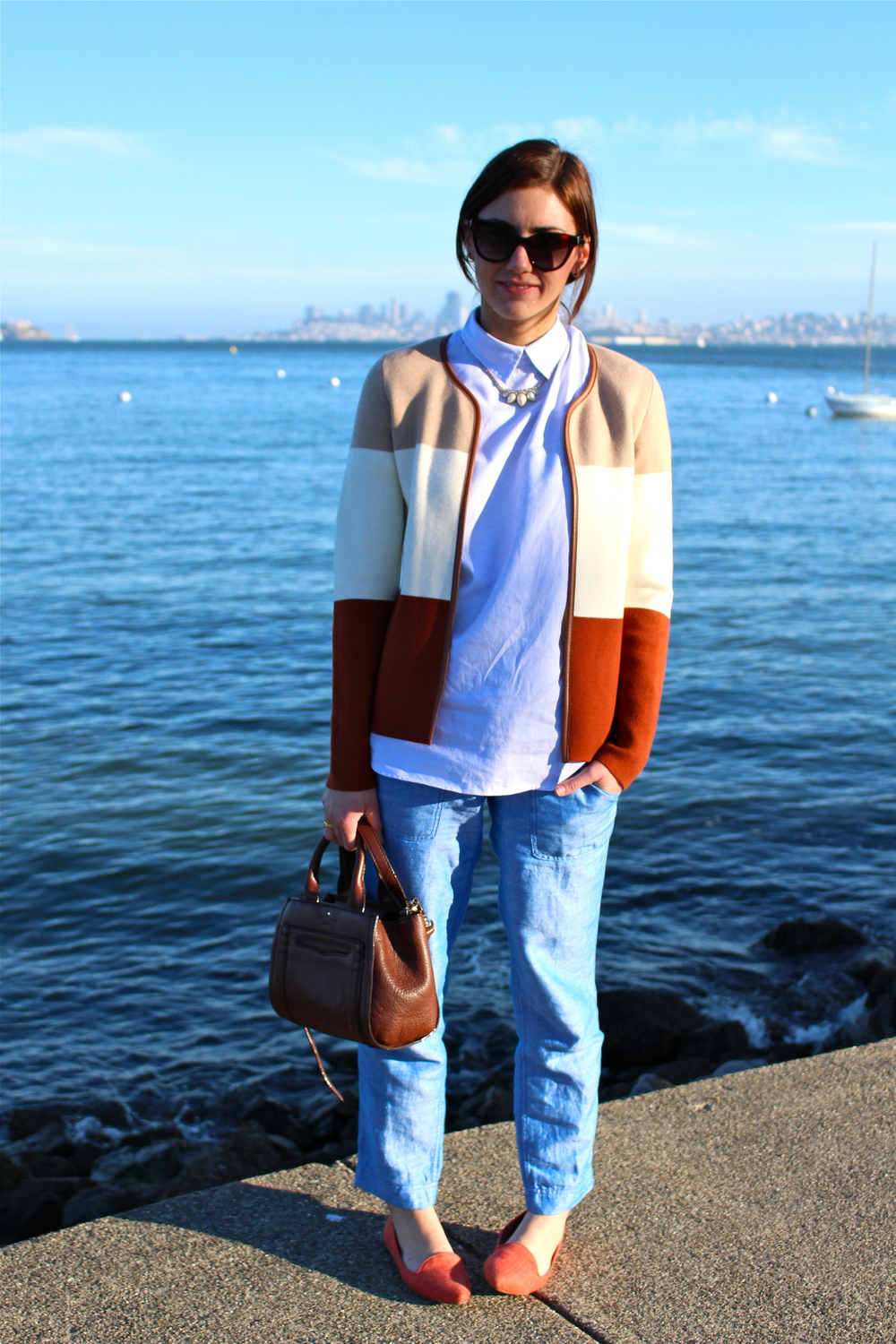 Jacket: Banana Republic; Pants &  Shirt : J.Crew; Bag; Kate Spade; Flats: Joie; Necklace: Vintage; Glasses: Marc by Marc Jacobs