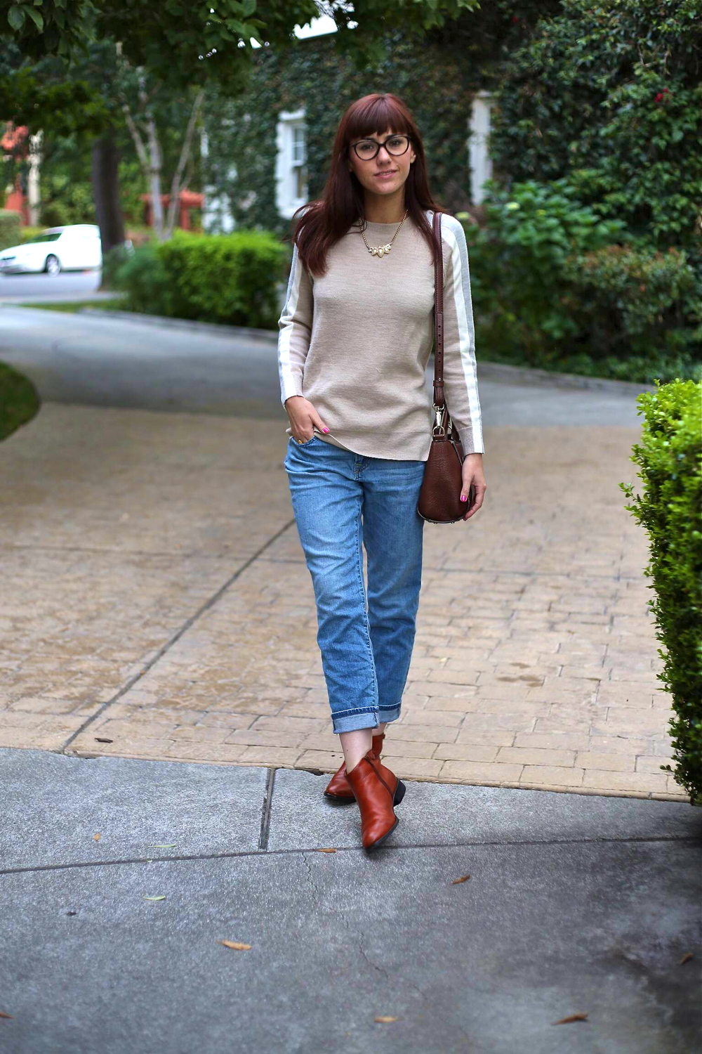 Sweater on sale and sold out (similar  here  and  here ): J.Crew;  Jeans : Uniqlo; Boots: Coclico, Gilt; Bag: Kate Spade; Necklace: Vintage, circa 1960s