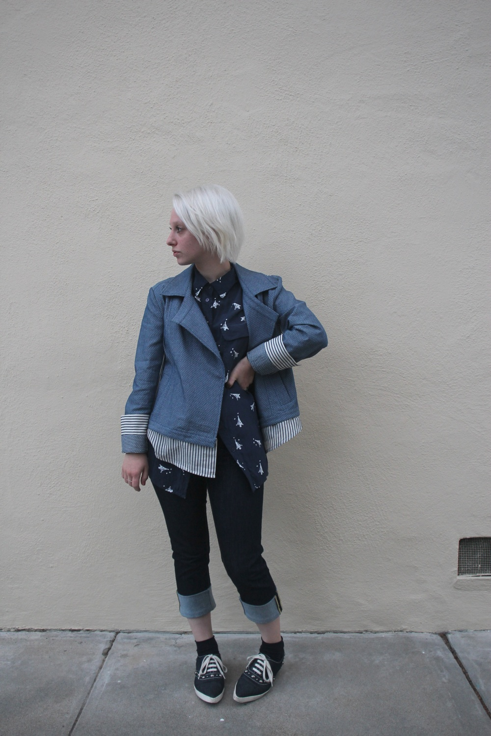 "Jacket: Theonne via Legion SF, Blouse: Equipment, but find it here, Denim: Acne Studios ""Flex"", Socks: Phillipe Matignon, Shoes: Marc Jacobs"
