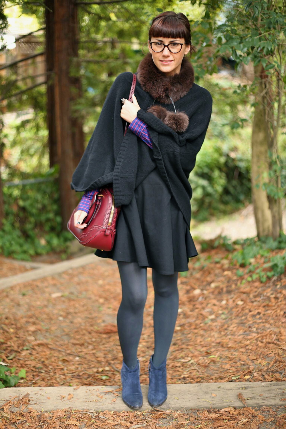 Poncho: Jigsaw London; Check Blouse: Gap; Dress: Joie, via Marshalls; Boots:  Jigsaw London ; Bag: Burberry; Furry Collar: Vintage, via estate sale