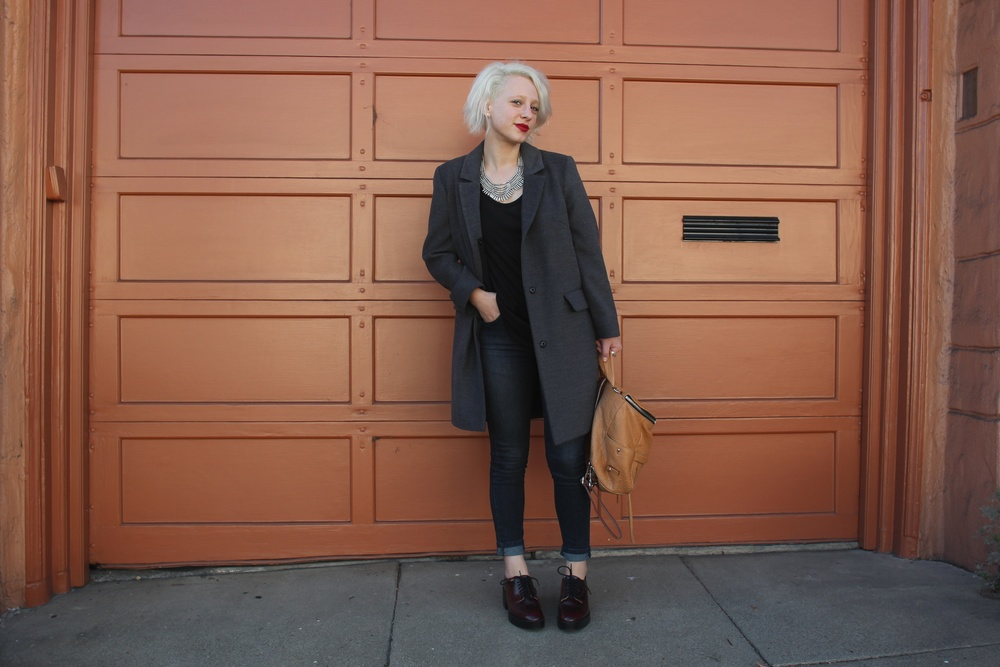 "Coat:  Topshop , Top:  Helmut , Denim:  James Jeans ""Twiggy"" , Shoes:  Zara , Backpack:  Rebecca Minkoff , Necklace: Zad"