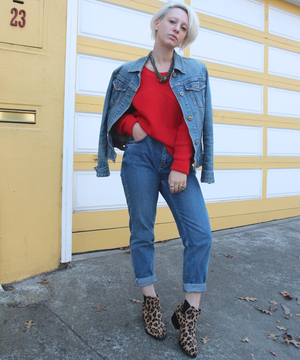 "Denim Jacket: Gap (vintage), Sweater: Sandro, Denim: Topshop ""Mom Jean"", Shoes: Steve Madden via DSW"