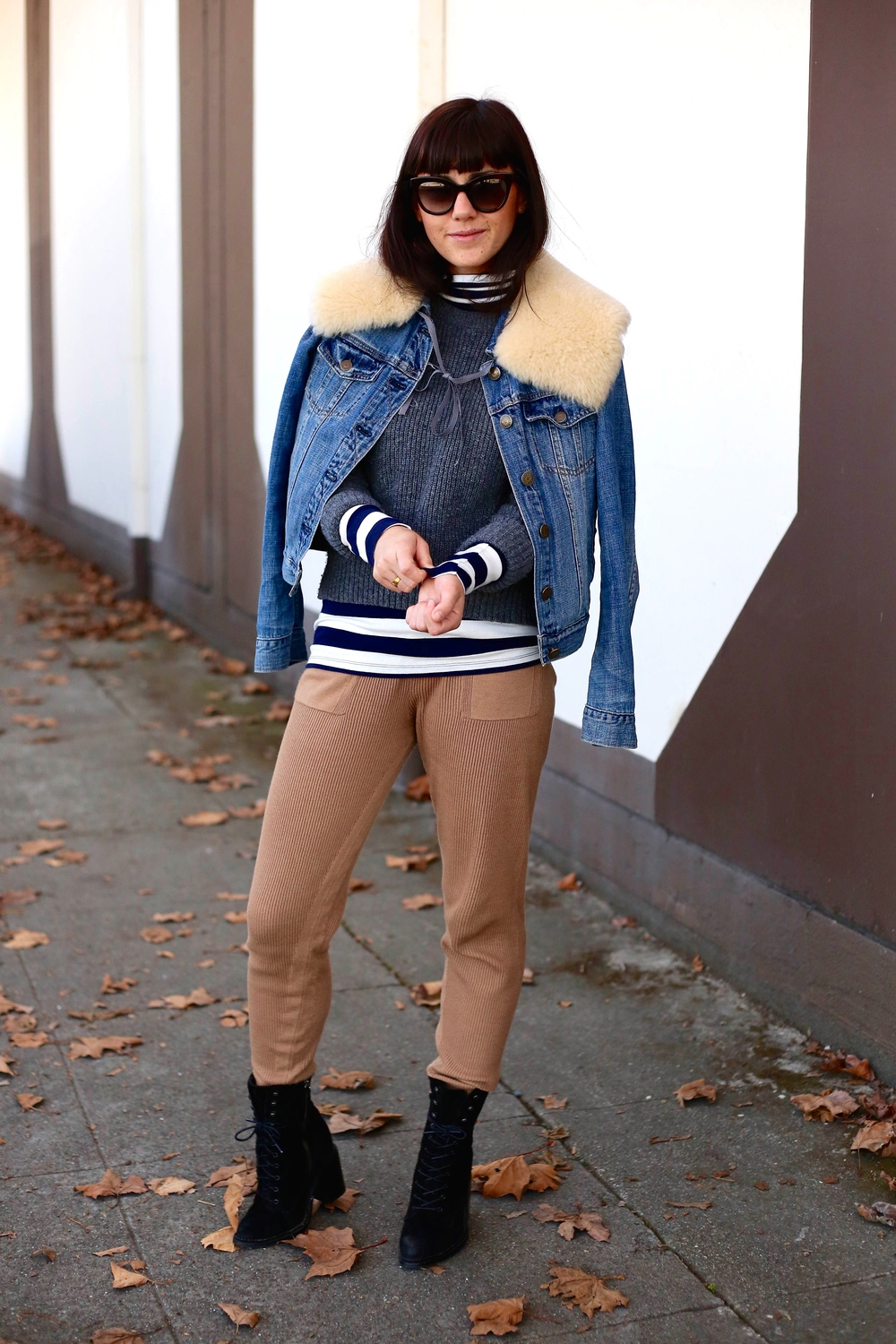 Turtleneck: Gap; Sweater: Uniqlo; Joggers: Zara; Booties: Kurt Geiger (Old); Jean Jacket: J.Crew; Collar: the Podolls