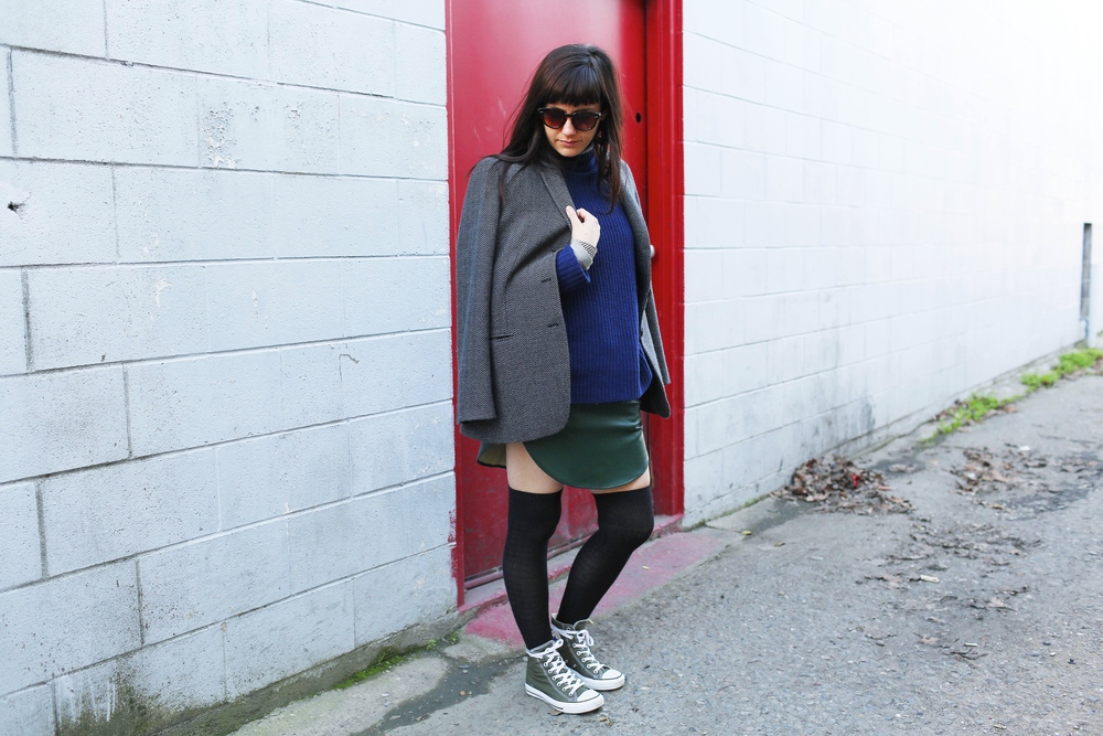 Sweater: Vince; Turtleneck: GAP;Jacket: Armani, vintage via Goodwill; Skirt: Night Walker, Adela Mei; Sneakers: Converse; Sunnies: Loft