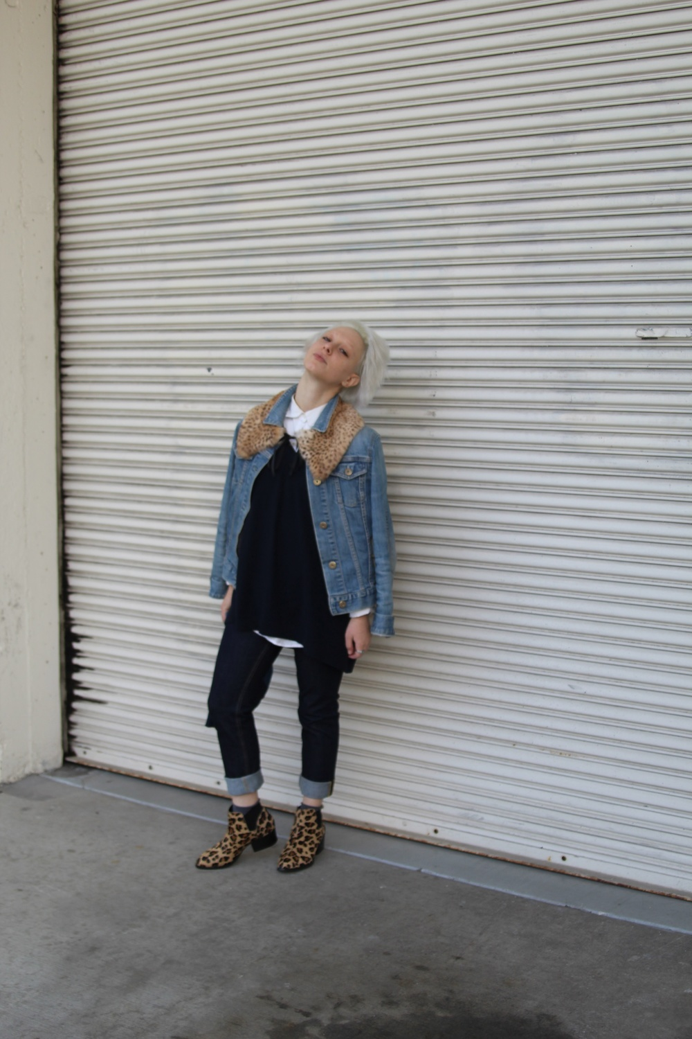 Denim Jacket: Gap (vintage), Epaulette: The Podolls, Shirt: J. Crew, Sweater: Jigsaw London, Jeans: Acne Studios, Socks: Philippe Matignon, Shoes: Steve Madden via DSW, Clutch: Lofti via Legion SF