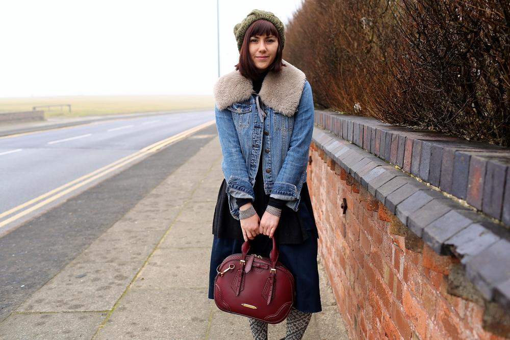 Denim Jacket: J.Crew; Sweater: Jigsaw London; Turtleneck: Gap; Skirt: Zara: Tights: DSW; Boots and Beanie: Jigsaw; Bag: Burberry