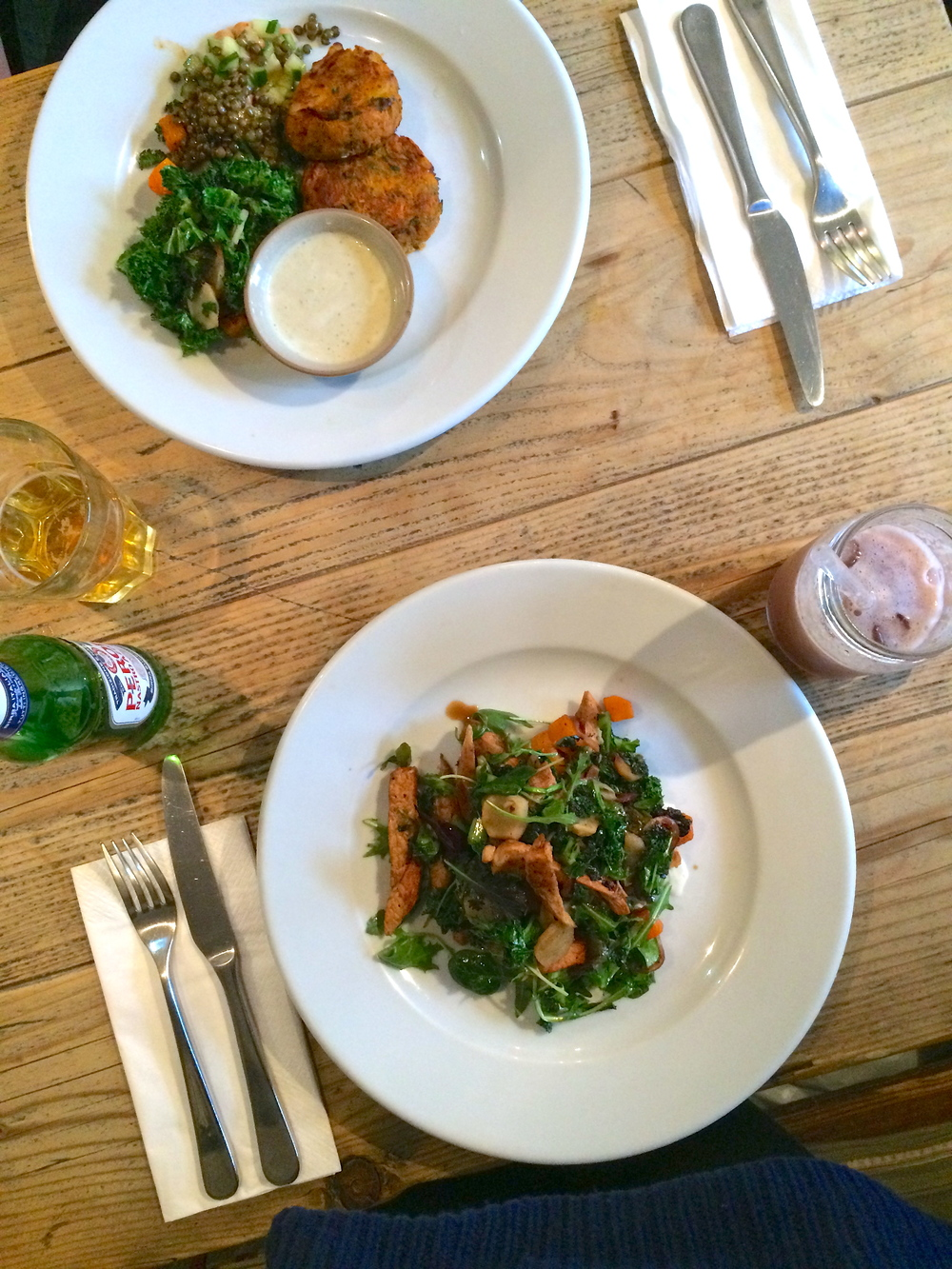 Indian spiced chicken salad with kale, broccoli and roasted onion at Filmore & Union