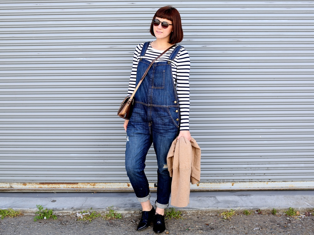 Stripe Top: Jigsaw London (similar here); Overalls: Current Elliott, Jeremys Department Store; Sweater: Jigsaw London (On sale here!!); Oxfords: Jonak, Paris (Similar here); Barrel Bag: Zatchels (so many colors here)