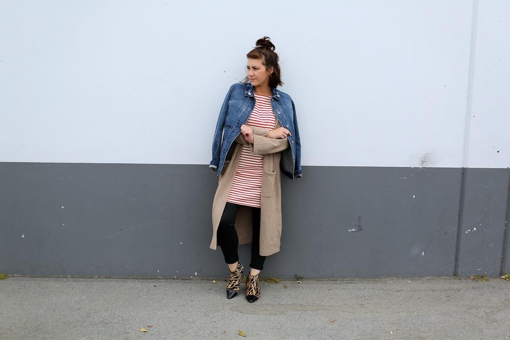 Denim Jacket: Uniqlo, on sale  here ; LongSweater: Zara (similar  here  and  here ); Dress: Uniqlo, on sale  here ; Coated Jeans: Mint Velvet (similar  here ); Leopard Booties: Derek Lam 10 Crosby, Marshall's (similar  here  and  here )