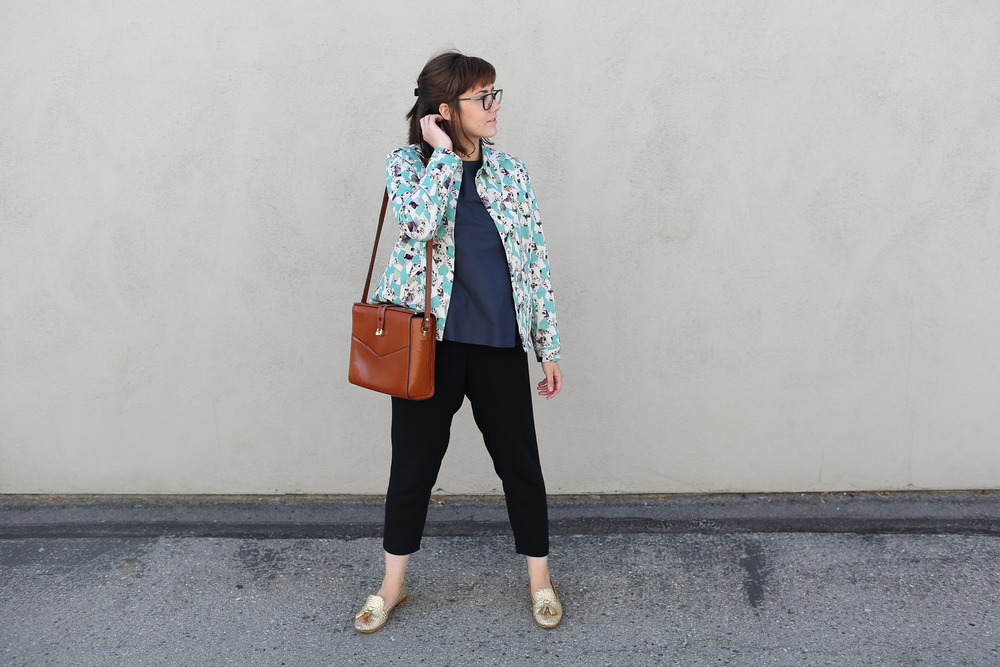 Jacket: COS (similar  here ); Blouse: COS (similar  here ); Pants: Jigsaw London (similar  here ); Metallic Loafers: Prada (similar  here ); Bag: Vintage (similar  here )