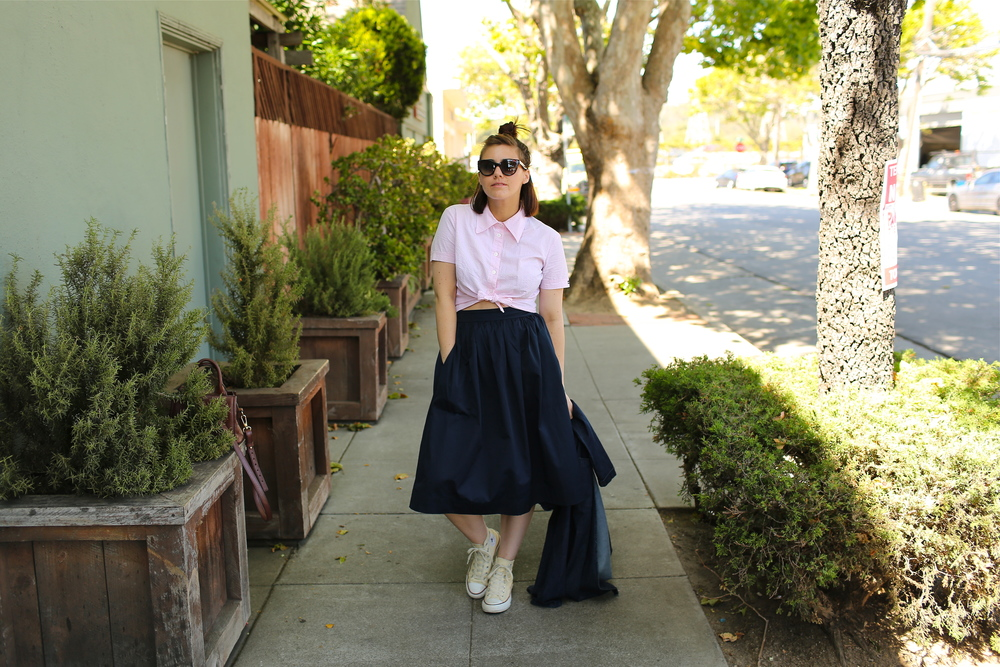 Skirt: ZARA, (old, similiar  here ); Blouse: Dolce & Gabbana, vintage (similar  here ); Denim Duster:  Forever 21 ; Sneakers:  Converse