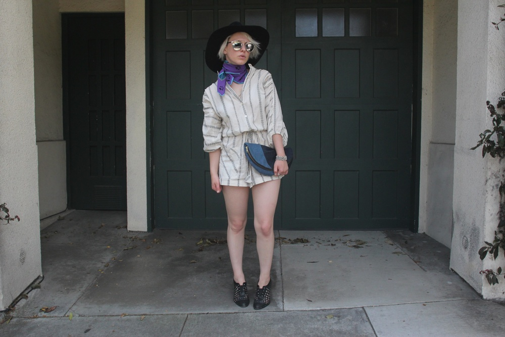 Hat: Ryan Roche, Sunglasses:  Dior , Scarf: Vintage, Romper: The Podolls, Clutch: Lofti via  LegionSF , Shoes:  Freda Salvador