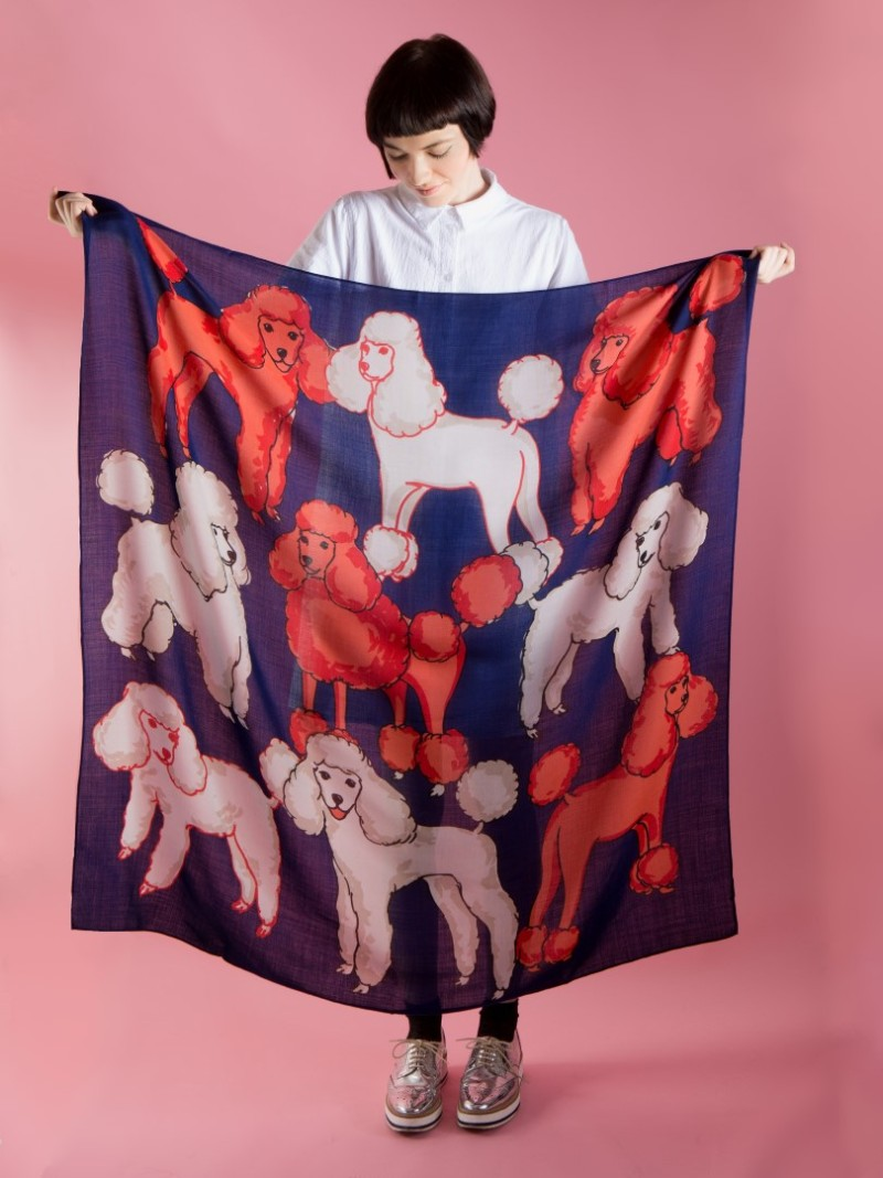 Our favorite printed scarves are from Karen Mabon