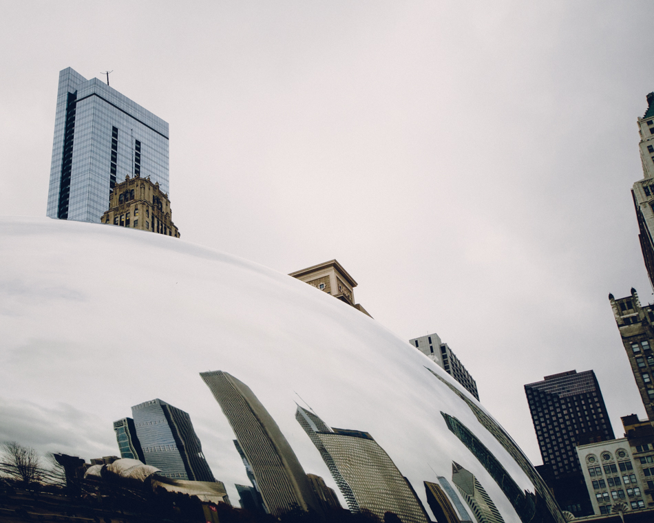 Chicago Skyline, Cloud Gate Distortion;  November 22, 2013