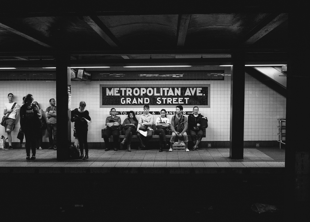 Waiting on the G, Lorimer St - Metropolitian Ave Subway Station, Brooklyn
