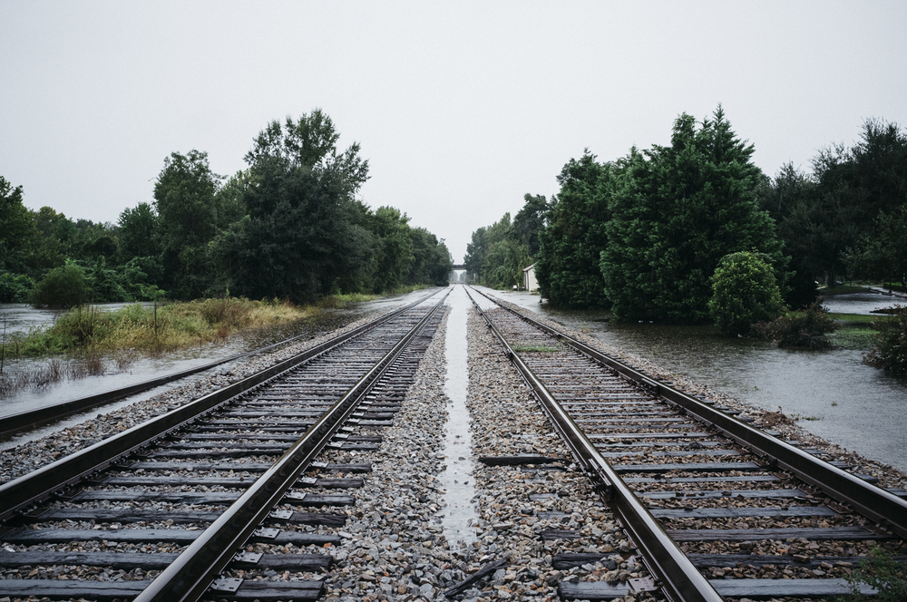 Flooded Railroad, Kingstree, SC;  October 2015