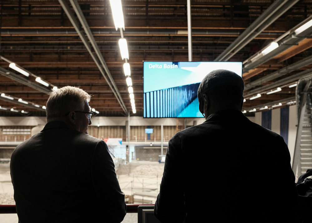 Mark Wilbert, Charleston's Chief Resilience Office, and Councilman Dudley Gregorie overlook the Deltares' Flume Lab