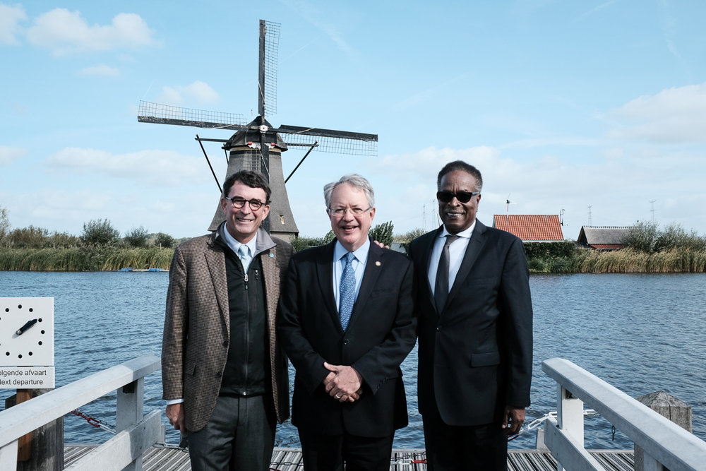 Charleston Mayor John Tecklenburg with Council-members Dudley Gregorie and Michael Seekings at the Kinderjink World Heritage Site