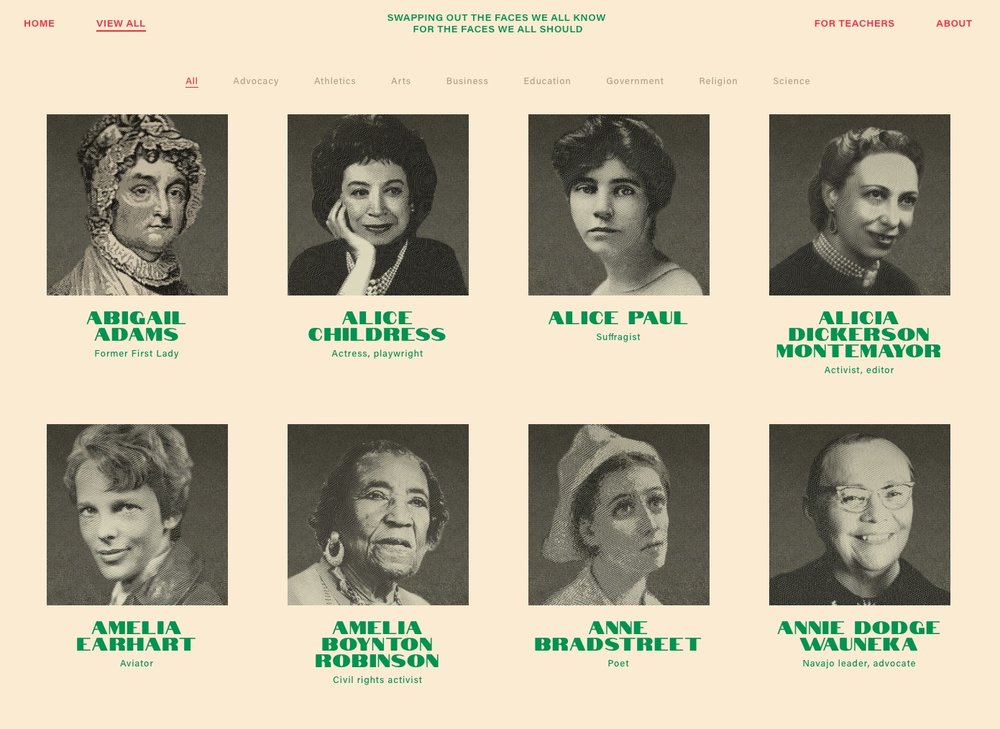 Notable Women website: Swapping out the faces we all know for the faces we all should.