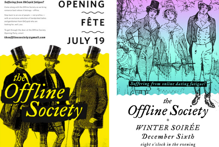 Vintage offline dating society flyer; Event by Washington DC event planner Liz Eggleston