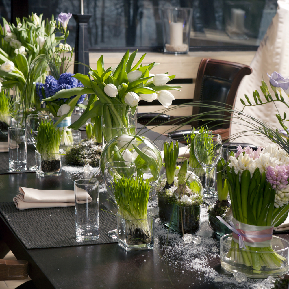 Luscious green table scape; Natural, organic dinner party decor; Event by Washington DC event planner Christine Masney on Fortique