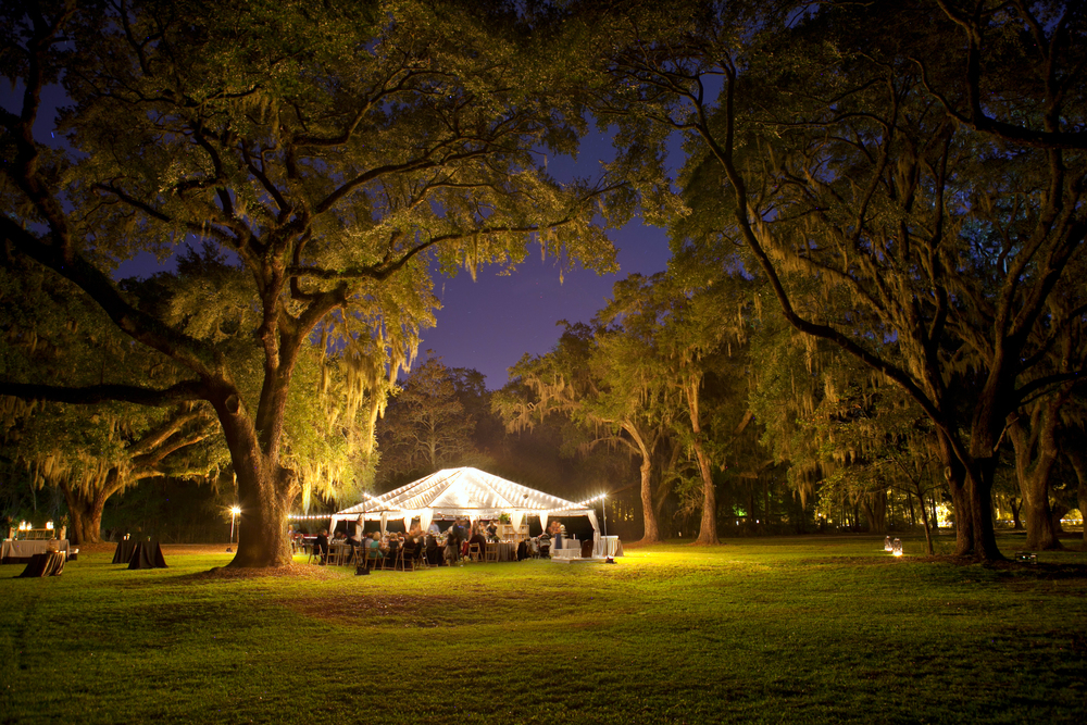 Gorgeous outdoor tent wedding with lights; Event by Washington DC event planner Christine Masney on Fortique