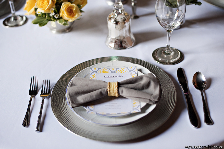 Gray and yellow bow-tie napkin place setting; Event styled by Washington DC event planner Darian and Dechele Events on Fortique