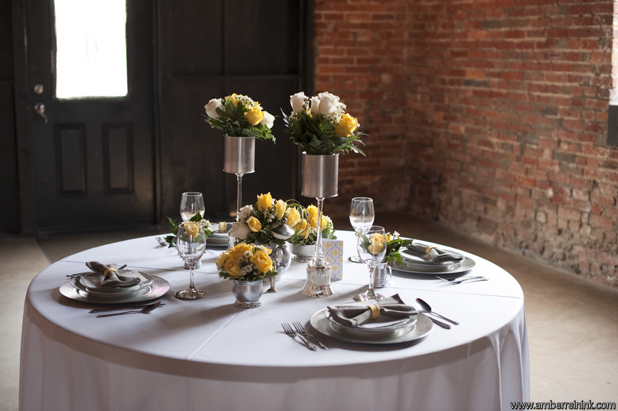 Gorgeous, affordable, yellow and white wedding reception table setting; Event styled by Washington DC event planner Darian and Dechele Events on Fortique