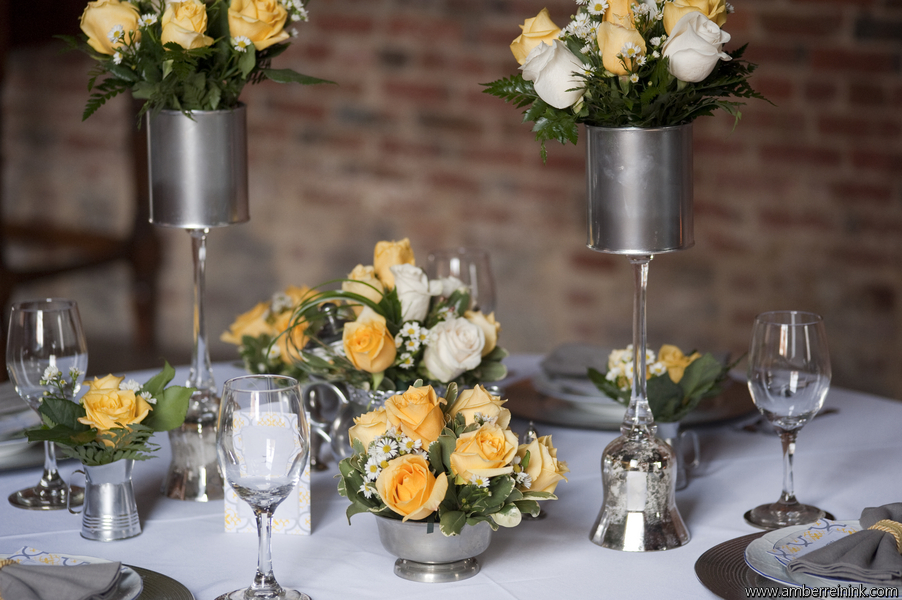 Beautiful high and low yellow and rose table scape; Event styled by Washington DC event planner Darian and Dechele Events on Fortique