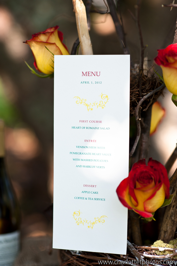 Snow White inspired wedding reception dinner menu; Event styled by Washington DC event planner Darian and Dechele Events on Fortique