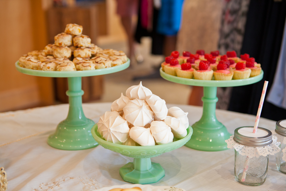 Teal dessert bar; Emily Giffin book signing party; Event styled by Washington DC event planner Petite Social on Fortique