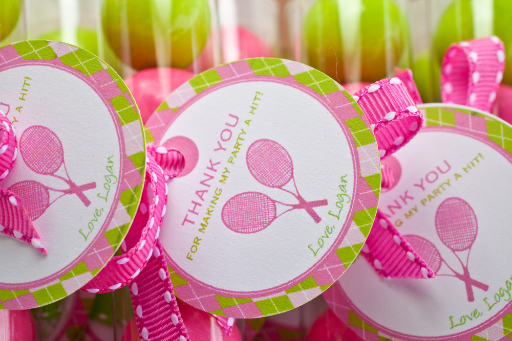 Pink and green bubblegum favors for girls tennis themed birthday party; Event styled by Washington DC event planner Petite Social on Fortique