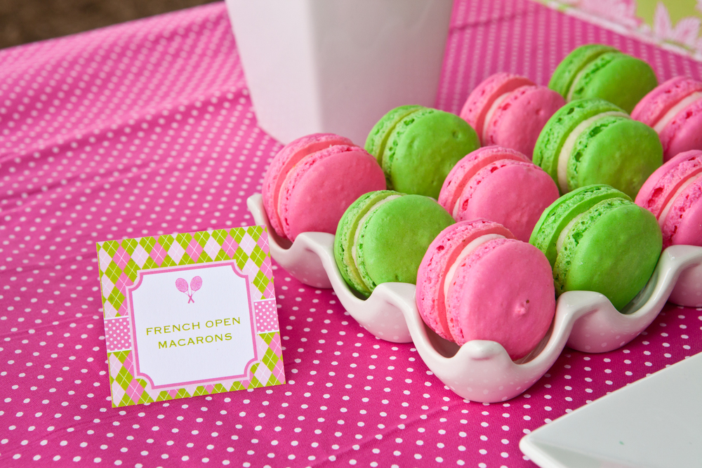Pink and Green Macarons - Washington DC Tennis Party Planner
