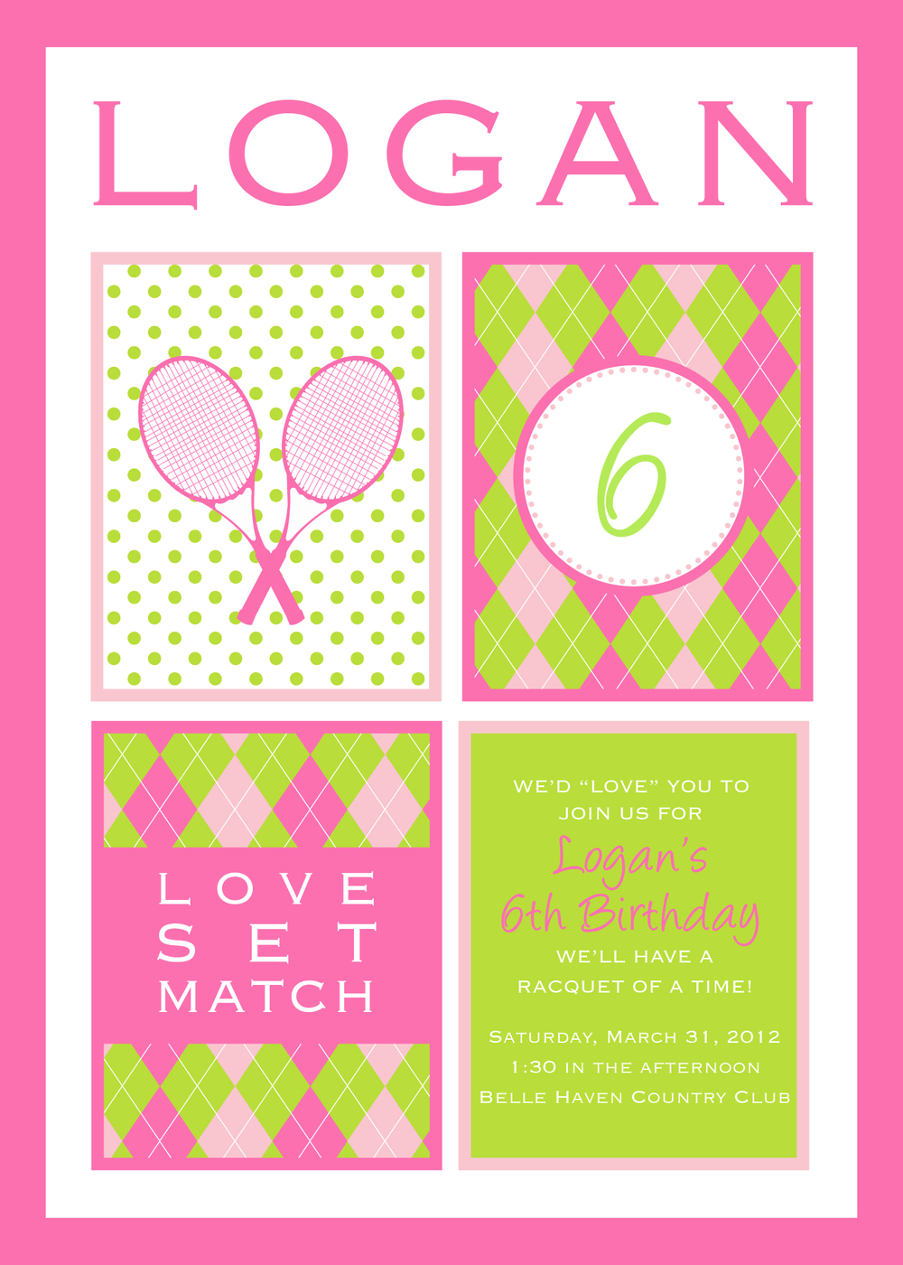 Tennis themed birthday party; pink and green invitations; Event styled by Washington DC event planner Petite Social on Fortique
