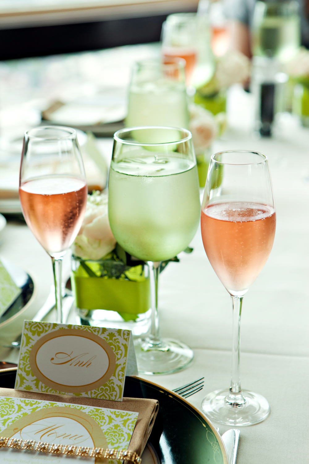 Rose and green water glasses, green and tan engagement brunch; Event styled by Washington DC event planner Petite Social on Fortique