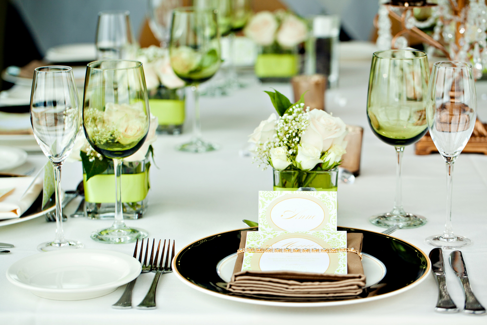 Gorgeous green and tan engagement brunch table setting; Event styled by Washington DC event planner Petite Social
