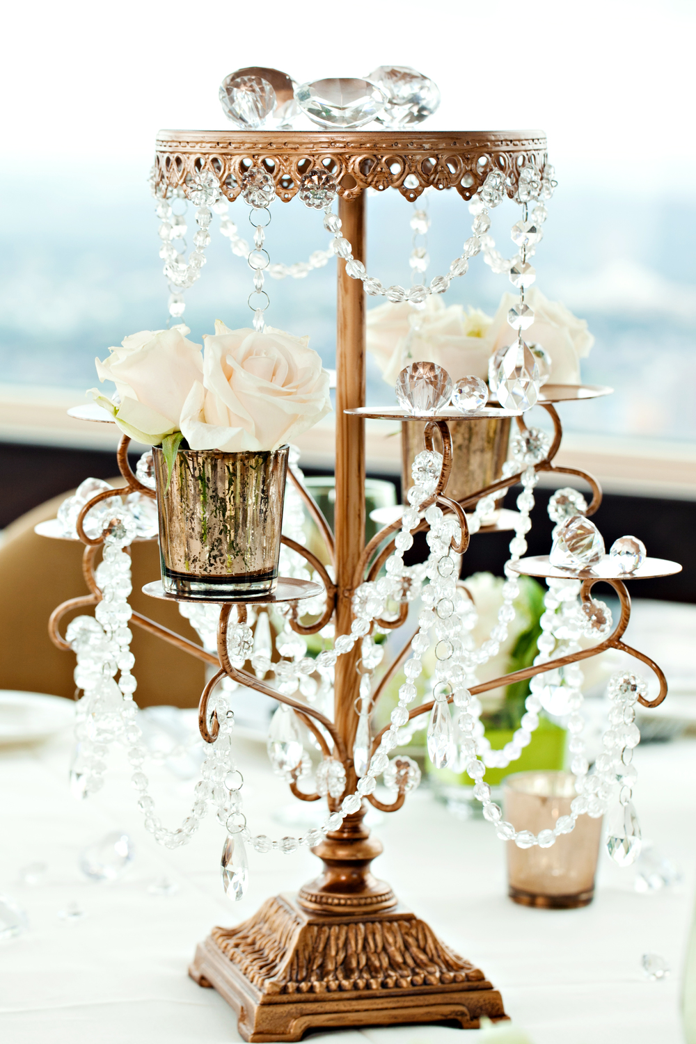 Crystal centerpiece; Jimmy Choo-inspired engagement brunch; Event styled by Washington DC event planner Petite Social on Fortique