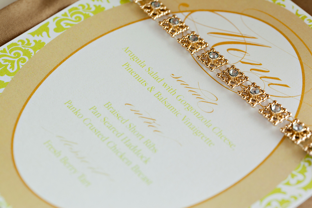 Green & tan Jimmy Choo-inspired engagement brunch menu; Event styled by Washington DC event planner Petite Social on Fortique