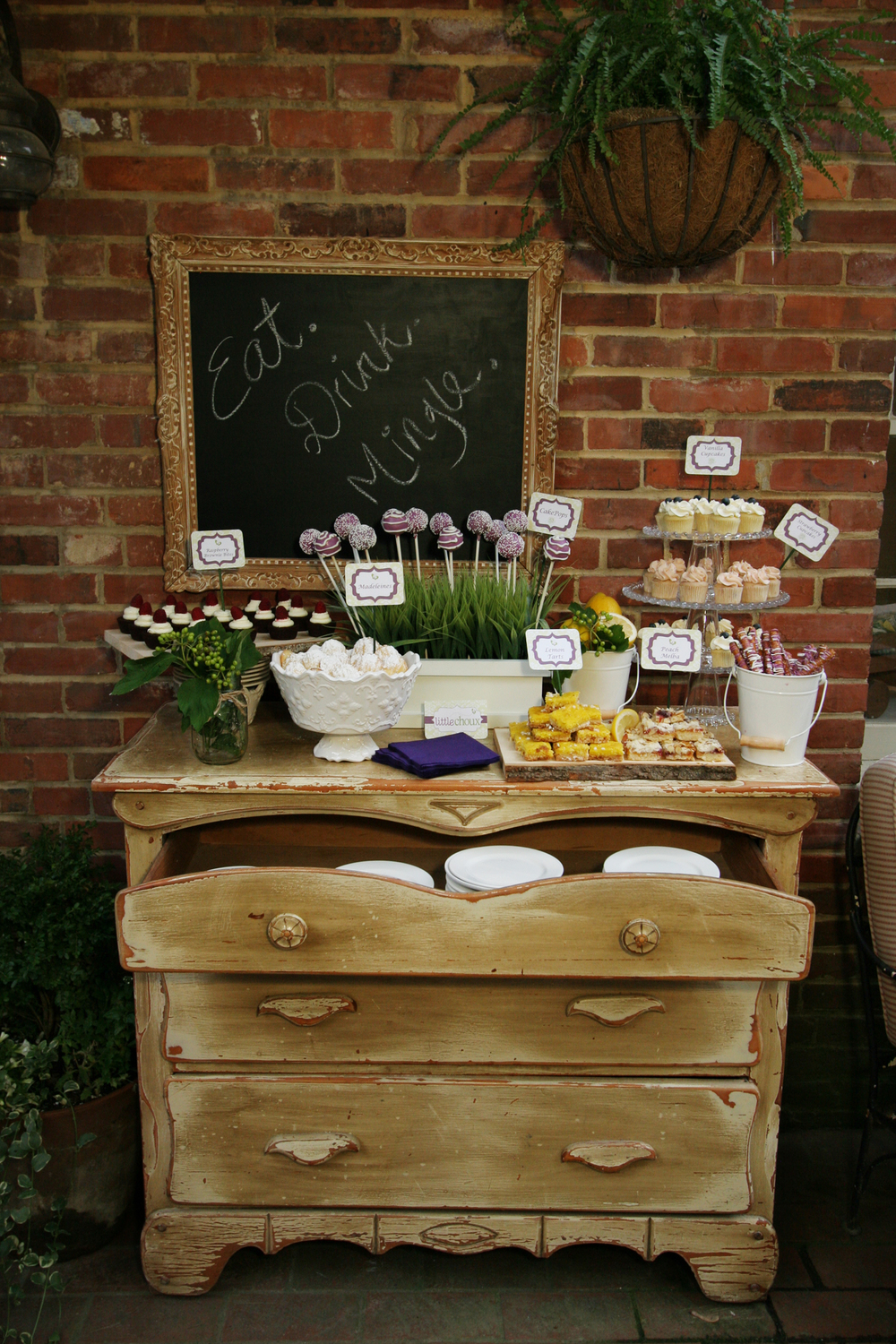 Garden party dessert bar; antique furniture bar; Pink and green bubblegum favors for girls tennis themed birthday party; Event styled by Washington DC event planner Petite Social on Fortique