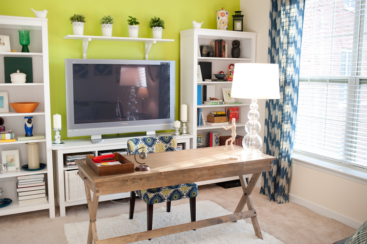 Office Design W Lime Accent Wall Blue Green Ikat Chair
