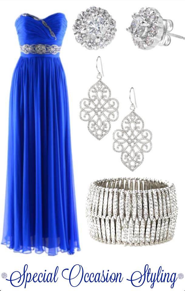 Special occasion styling - look featuring deep blue floor length sweetheart neckline dress with silver accessories - styled by Washington DC stylist Karen Curtis