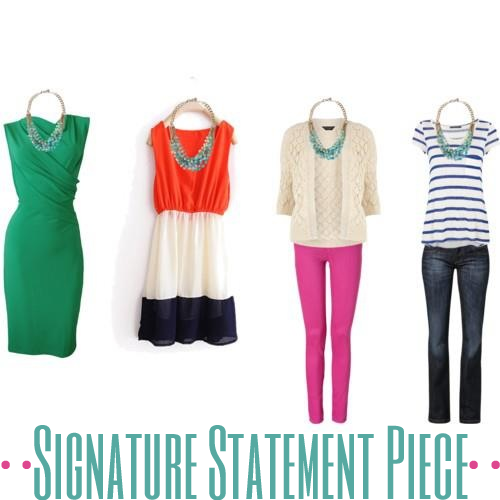 4 ways to wear a blue statement piece with green wrap dress, blue, white, and orange dress, pink jeans, and a nautical ensemble styled by top Washington DC stylist Karen Curtis