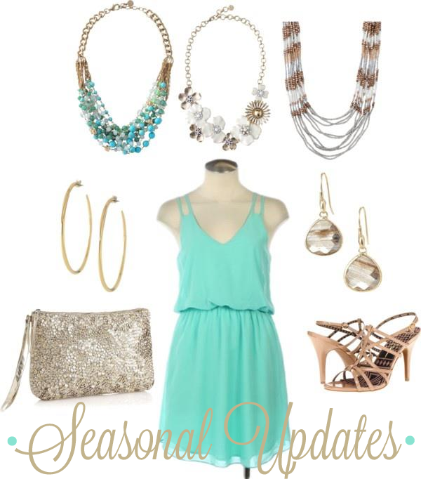 Spring Seasonal updates - sea-foam dress, glitter clutch, teal statement necklace, daisy necklace, strapy sandal - styled by top Washington DC stylist Karen Curtis
