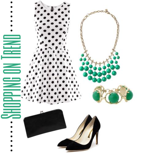 Look featuring black and white polkadot dress, aqua necklace, green bangle, black pumps, black clutch styled by top Washington DC stylist Karen Curtis