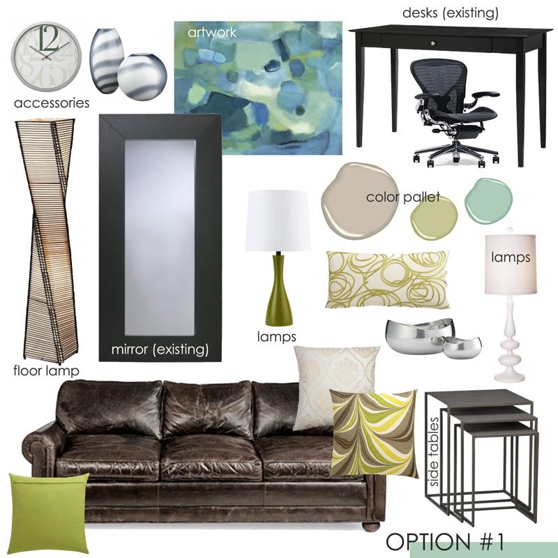 Teal and Green office design inspiration board; designed by Washington DC interior designer Olios Design on Fortique
