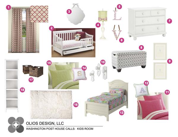 Pink and green kids room inspiration board; designed by Washington DC interior designer Olios Design on Fortique